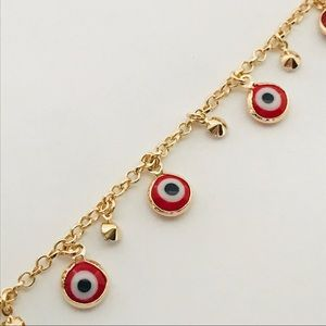 Raf Rossi Gold Plated Jewelry - Red Beads Evil Eye Charm Goldfilled Bracelet